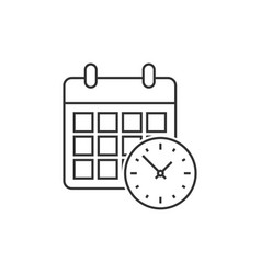 calendar with clock vector image