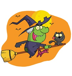 Character Harrison Rode A Broomstick With A Cat vector image