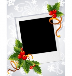 Christmas photo frame vector image vector image