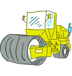 Drawn colred asphalt spreader vector