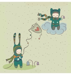Fabulous holiday with characters flying a kite vector image vector image
