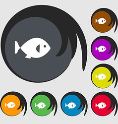 Fish icon sign symbols on eight colored buttons vector