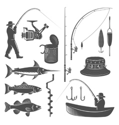 Fishing Decorative Graphic Icons Set vector image vector image
