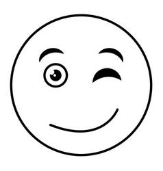 Flirtatious face emoticon kawaii character vector