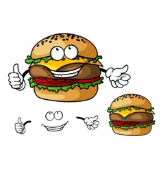 Fun cartoon cheeseburger vector