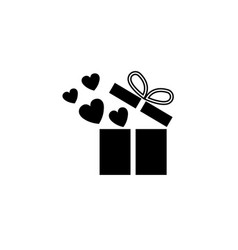 gift box with hearts solid icon love present vector image vector image