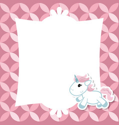 Greeting card with cute unicorn greeting card vector