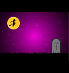 halloween gravestone graveyard witch moon vector image