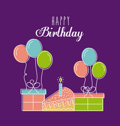 happy birthday card greeting with cake gift vector image