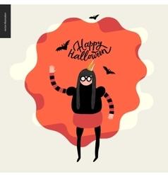 Happy halloween with a waving girl vector