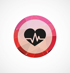 Heart pulse circle pink triangle background icon vector