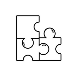 line puzzles pieces game to idea solution vector image vector image