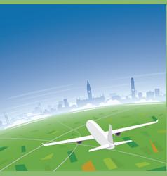 Manchester skyline flight destination vector
