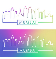 mumbai skyline colorful linear style editable vector image vector image