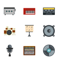 music equipment icon set flat style vector image