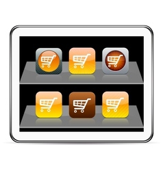 Orange Shopping cart app icons vector image vector image