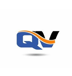 Qv company linked letter logo vector