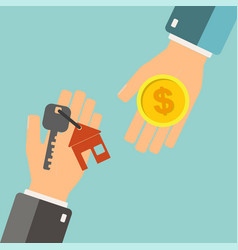Real estate concept agent holding a key for home vector