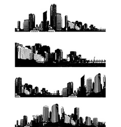 Set of black and white panorama cities art vector image vector image