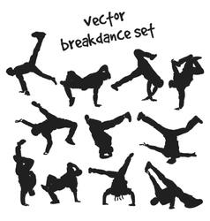 set of break dancers vector image