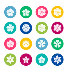Set of flower icons on color background vector