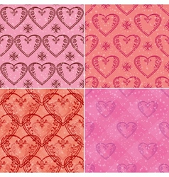 Set of valentine hearts seamless patterns vector image vector image