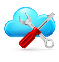 single cumulus cloud and tools on white vector image vector image