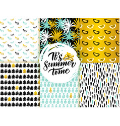 summer time seamless patterns vector image vector image
