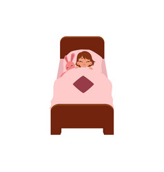 Vecotr flat cartoon girl sleeping in bed vector