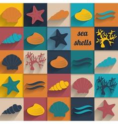 Vintage seashell flat card vector