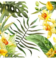Watercolor canna flowers pattern vector