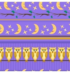 Lilac seamless pattern with owl vector