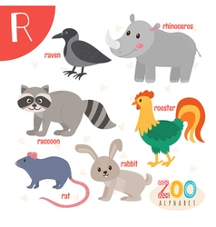 Letter R Cute animals Funny cartoon animals in  vector image