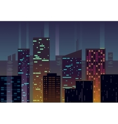 Night city buildings with glowing windows at dusk vector