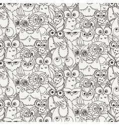 Seamless pattern with furry doodle owls vector
