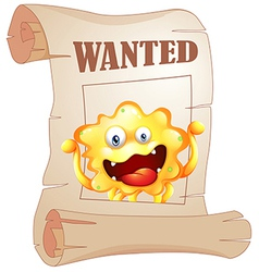 A wanted monster in a poster vector image