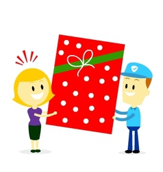 Postman delivering a big present gift to a woman vector