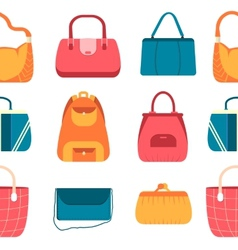 Elegance fashion handbags and bags in flat vector