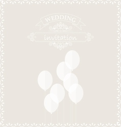 White balloons on the wedding invitation card vector
