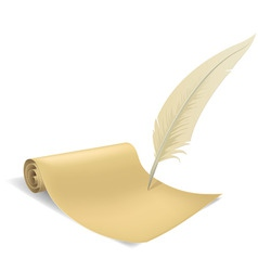 Old paper scroll and feather vector