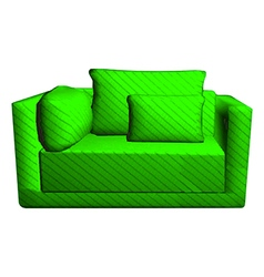 Leather green sofa with pillows isolated on white vector