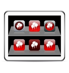 Balloons red app icons vector