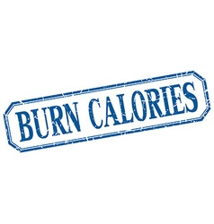 Burn calories square blue grunge vintage isolated vector