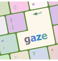 Gaze button on computer pc keyboard key vector