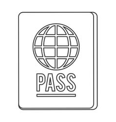 Black line passport icon vector