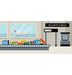 Airport terminal security check vector