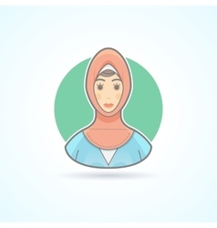 Arabian woman in traditional national cloth icon vector