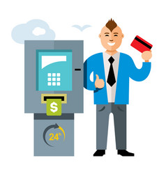 Atm and businessman flat style colorful vector
