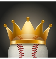 Background of baseball ball with royal crown vector