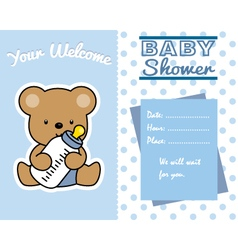 bear with baby bottle vector image vector image